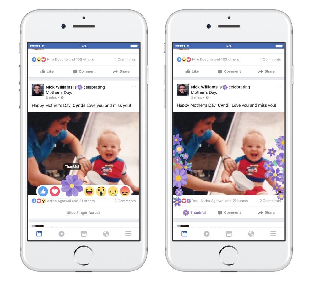 Facebook traz botão de 'gratidão' de volta para o Dia das Mães